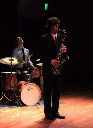 Tenor Sax played by Nick Stephanyshyn, and Drrums played by Anthony Johnson. Performing at the Applied Music Recital. ( Photo By Nicole Kesler)