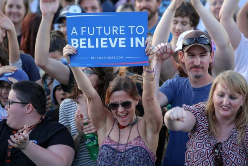 A member of the audience holds a sign that reads 'A Future To Believe In' during the Bernie Sanders rally at Bonney Field in Sacramento, California on May 9, 2016. (Photo by Kyle Elsasser)