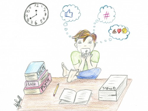 Many students find themselves doing everything but their academic work during finals. Overcoming procrastination would not only help them get better grades, but help them feel better. (Photo illustration by Itzin Alpizar).