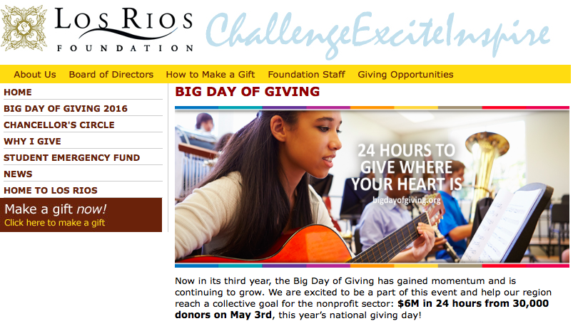 The Los Rios Foundation will be participating in the 2016 Big Day Of Giving 24 hour fundraiser to benefit scholarships, grants, and the Student Emergency Fund. (Screengrab from Los Rio Foundation website.)