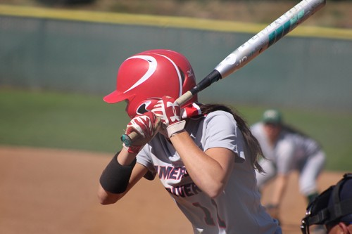 American River College centerfielder Stephanie Scott prepares to swing during a game against Diablo Valley College on April 23, 2016 at ARC. ARC won 7-6. (Photo by Mack Ervin III)