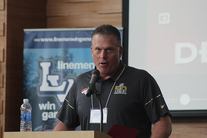 Denver Broncos offensive line coach Clancy Barone gives the keynote speech during a Linemen Win Games (LWG) coaches clinic on May 21, 2016 at American River College. LWG was founded and run by current ARC football coach Jon Osterhout in order to bring more exposure to linemen in football. (Photo by Mack Ervin III)