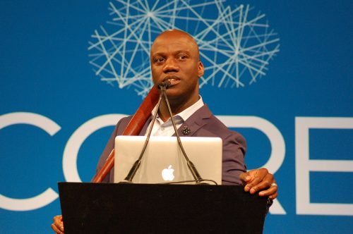"University of Pennsylvania professor Shaun Harper gives his keynote speech at NCORE on May 31, 2016. Harper's keynote related Beyonce's visual album ""Lemonade"" to racism in higher education. (Photo by Hannah Darden)"