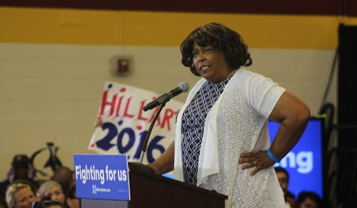 Service Employees International Union (SEIU) Local 1000 president Yvonne Walker speaks at a rally for democratic presidential candidate Hillary Clinton at Sacramento City College on June 5, 2016. (Photo by Mack Ervin III)