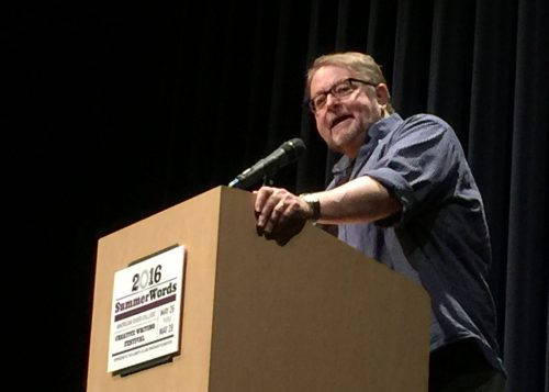 Author Luis Alberto Urrea speaks the the crowd at American River College during his keynote speech at SummerWords. (Photo by Jordan Schauberger)