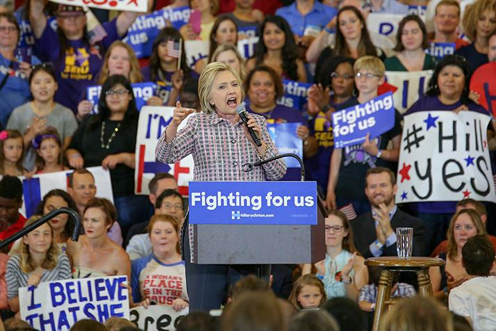 Presidential candidate Hillary Clinton speaks to the crowd during her campaign event at Sacramento City College in Sacramento, California on June 5, 2016. (Photo by Kyle Elsasser)