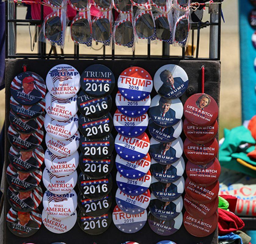 Donald Trump buttons on display before Trump's rally in Sacramento, California on June 1, 2016. (Photo by Kyle Elsasser)