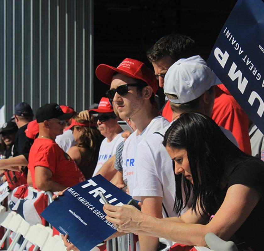 Supporters of Donald Trump stand in line and wait for a rally event in Sacramento, California on June 1, 2016. (Photo by Robert Hansen)