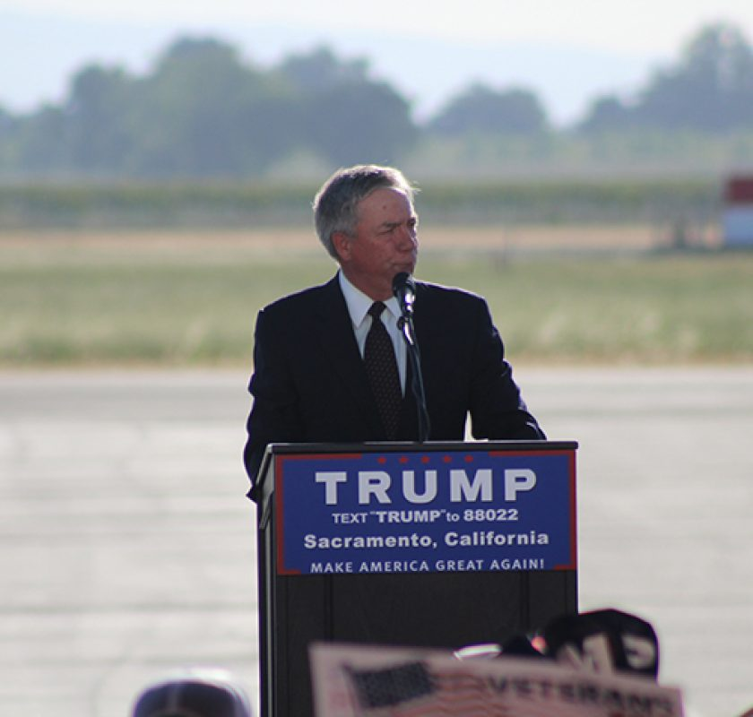 Former California congressman Doug Ose speaks at a Donald Trump campaign rally in Sacramento, California on June 1, 2016. Ose served as a U.S. Representative from 1999-2006 and has endorsed Donald Trump for president. (Photo by Mack Ervin III)