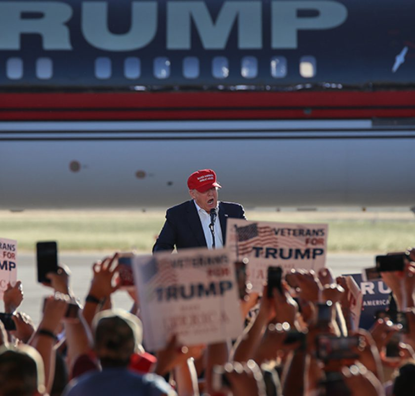 Presumptive GOP nominee Donald Trump speaks during his rally in Sacramento, California on June 1, 2016. (Photo by Kyle Elsasser)