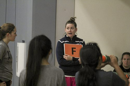 New American River college women's volleyball head coach Carson Lowden explains a new signto her players during a team practice on Aug. 25 at ARC. Lowden's first game in charge is on Aug. 26 against Lassen College. (Photo by Mack Ervin III)