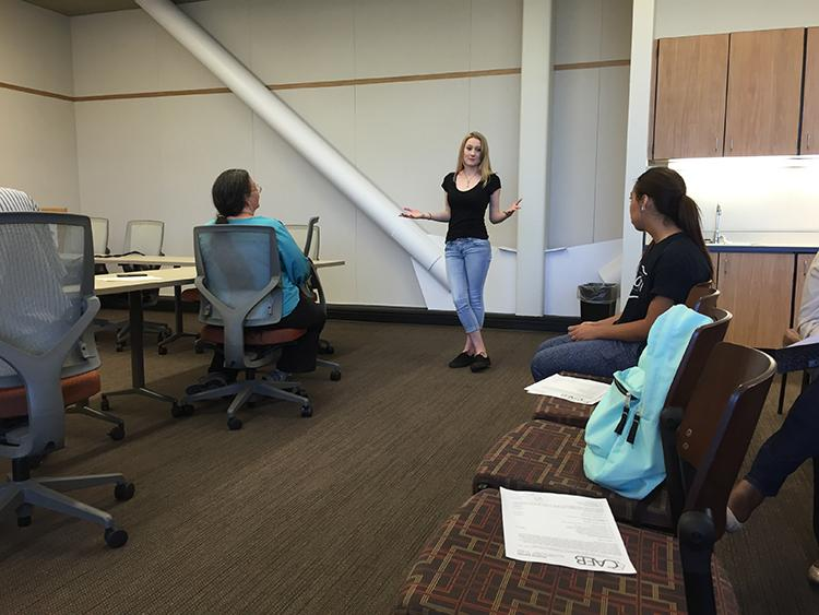 Ashlee Nicholson (center), Director of Activities, speaks at an American River College Clubs and Events Board meeting on Aug. 30th, 2016. Welcome Day was discussed during the meeting. (Photo by Jared Smith)