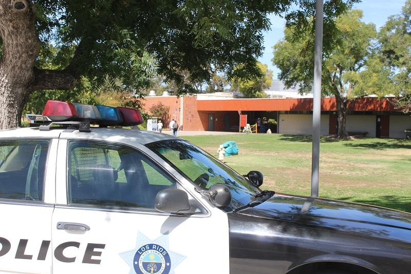 Los Rios Police squad car parked  near the science building on Sept. 2, 2016. A campus incident near the science department on Sept. 1 required police presence. (Photo by Robert Hansen)