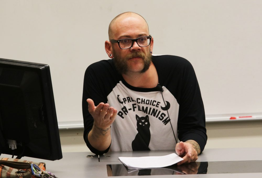 Former American River College student, Daniel Milewski, discussed food injustice in Raef Hall on Sep. 1, from 12:15 p.m. to 1:15 p.m. (Photo by Cheyenne Drury)