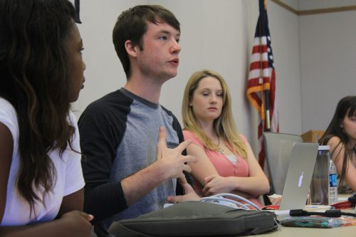 American River College Clubs and Events Board President Justin Nicholson (center) discussing  Club Day at an October meeting with Ashlee Nicholson (right) and Valencia Scott (left) in the Board room. (File Photo)