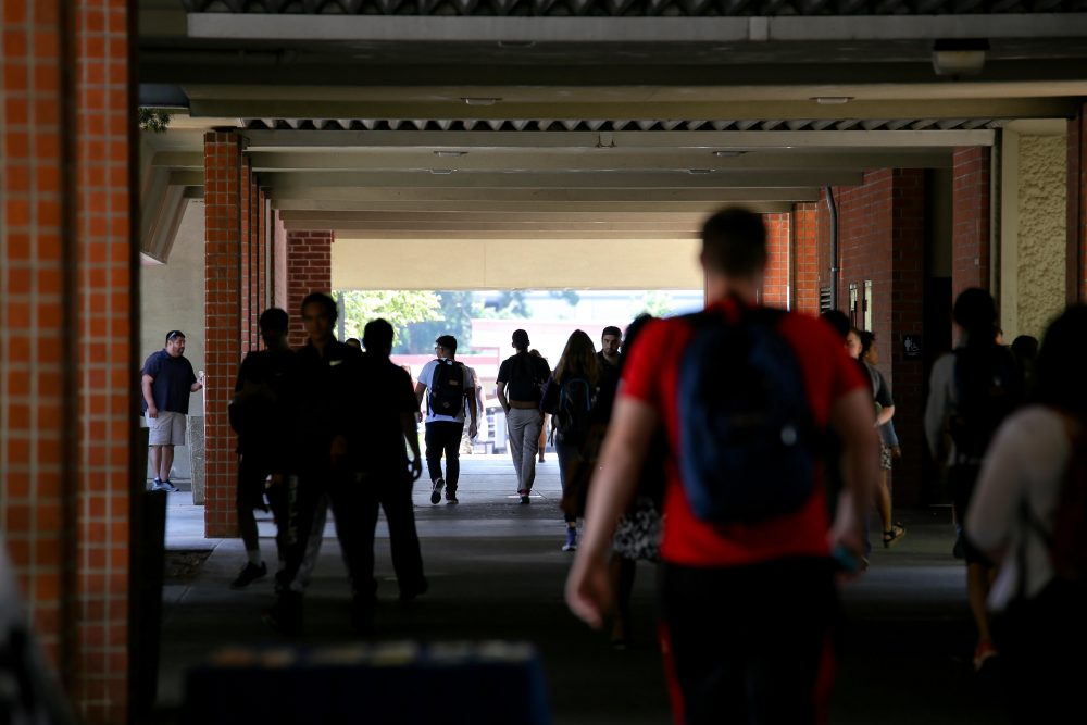 Students walk through the halls at American River College on Septemeber 6, 2016. (Photo by Kyle Elsasser)