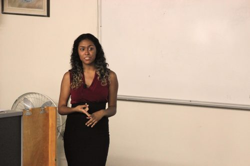 """Cheyenne Garcia gives a presentation on """"Research for College Students"""" at American River College Tuesday Sept. 6 during College Hour in Raef Hall 160. (photo by Lidiya Grib)"""
