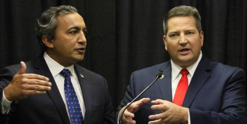 Congressman Ami Bera (left) and Sheriff Scott Jones (right) answer questions during press conferences following their 7th Congressional District debate on Tuesday. (Photo by Jordan Schauberger)
