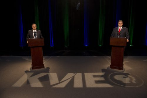Democratic U.S. Rep. Ami Bera and his Republican challenger Sacramento County Sheriff Scott Jones participate in a debate for the highly competitive 7th Congressional District seat at the KVIE television studios in Natomas on Oct. 18. (Photo courtesy of the Sacramento Bee)
