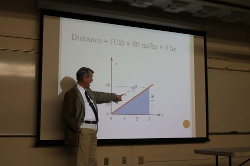 Professor Barcellos gives instruction about the distance with miles and hours at the October 6 College Hour. (Photo by: Cierra Quintana)