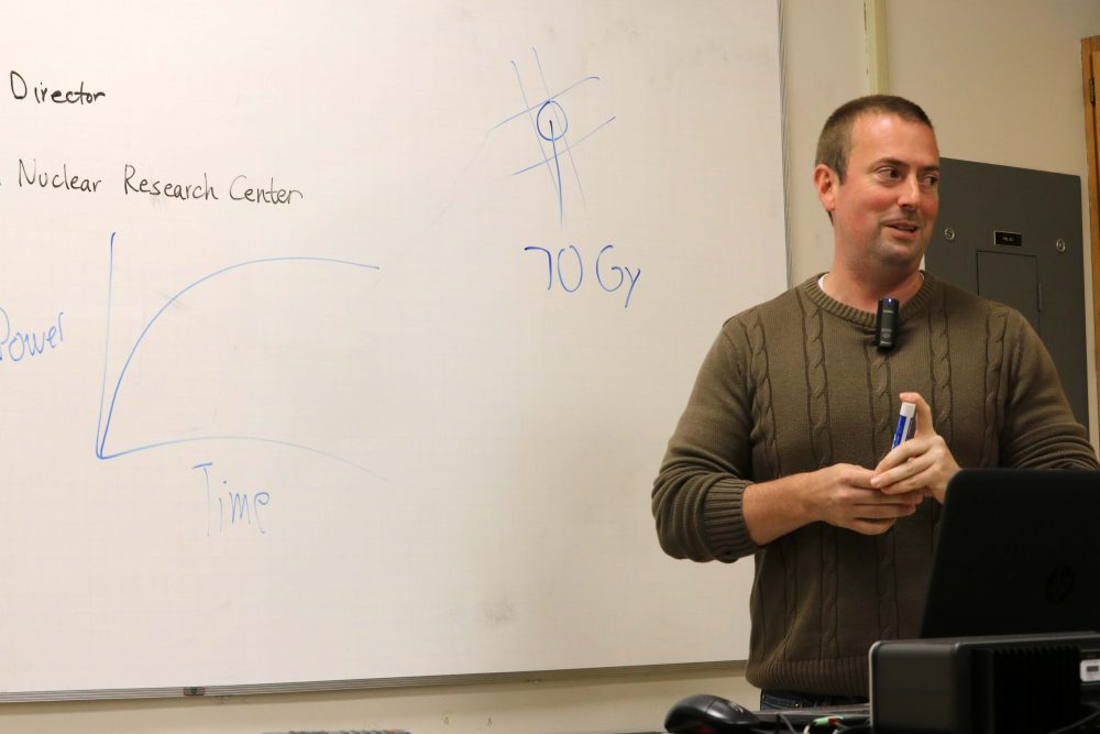 Dr. Wesley Frey, director of UC Davis McClellan Nuclear Research Center, speaks to ARC students on Oct. 26. Dr. Frey talked about the health effects of the radioactive plume released from the Fukushima Power Plant in March 2011. (Photo by Robert Hansen)