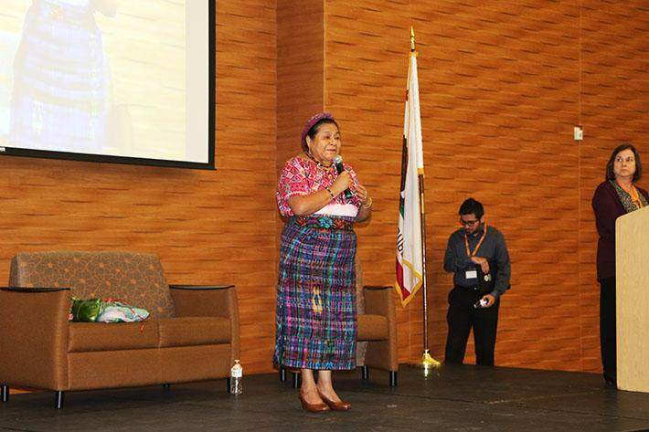 Nobel Peace Prize winner Rigoberta Menchu speaks at American River College in the Cafeteria on Oct. 3. The event only allowed students and faculty, as well as invited guests, who had made a reservation  attend.(Photo by John Ennis)