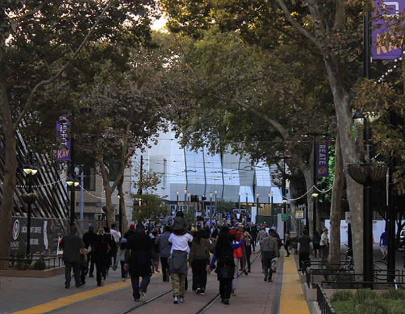 "Fans make their way to ""Fan Fest"" at the newly opened Golden 1 Center in downtown Sacramento, California on Oct. 1 (Photo by Luis Gael Jimenez)"