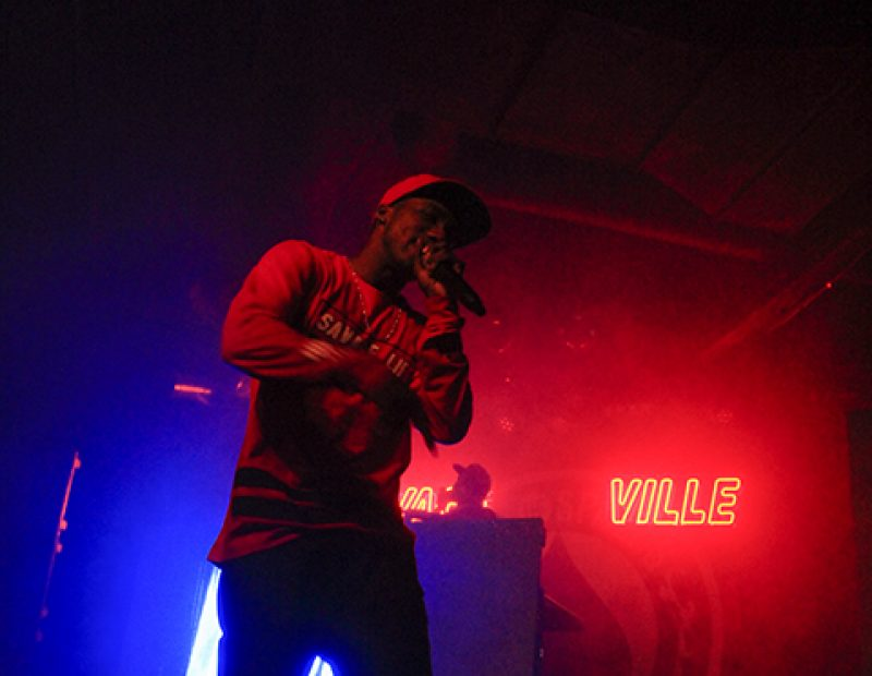 "Rapper Hopsin and DJ Romar perform in Sacramento, California as part of the ""SavageVille"" tour at the Ace of Spades venue on Oct. 8 (Photo by Luis Gael Jimenez)"