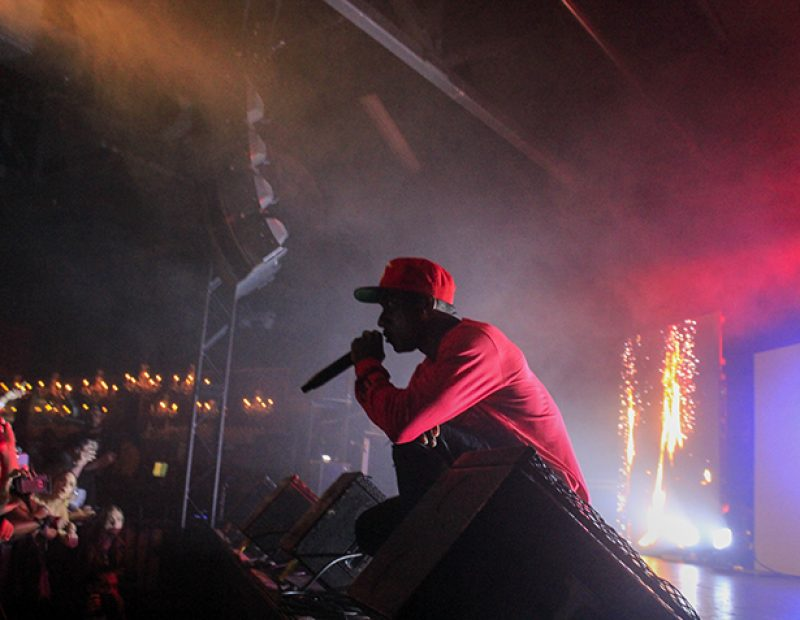 "Rapper Hopsin engages the crowd during a show at the Ace of Spades in Sacramento, California on Oct. 8 as part of his ""SavageVille"" tour (Photo by Luis Gael Jimenez)"
