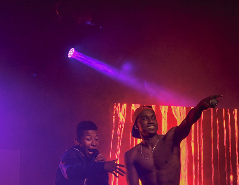 "Rapper Hopsin let his fans rap his last song of the night, ""Sag my Pants"" in Sacramento, California on Oct. 8 (Photo by Luis Gael Jimenez)"