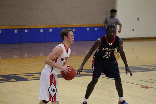 American River College guard Matt Lyon is guarded by forward Dontay Anderson during a scrimmage on Nov. 8, 2016 at ARC. The team's planned game against William Jessup J.V. was cancelled due to eligibilty reasons. (Photo by Mack Ervin III)