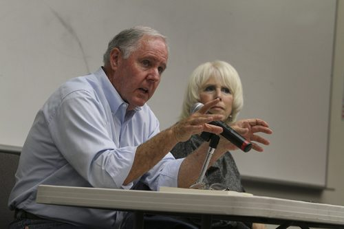 Authors Steve and Susie Swatt  talk about California politics during a College Hour speech on October 25, 2016 at ARC. The Swatts talked about historical propositions in relation to the 17 propositions on this year's ballot. (Photo by Mack Ervin III)