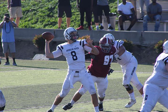 American River College quarterback Griffin Dahn throws a pass during a division game against Sierra College on Nov. 12, 2016 at Sierra. ARC won 44-41 to clinch a spot in this year's playoff. (Photo by Mack Ervin III)