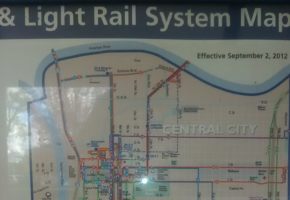 The lightrail system map is displayed at the American River stop on the Regional Transit system. (photo by James Saling)