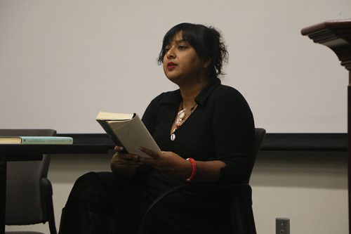 "Sri Lankan novelist Nayomi Munaweera reads a passage from her book ""What Lies Between Us"" during a College Hour at ARC on Nov. 1, 2016. Munaweera talked about the influence she recieved for writing her two novels. (Photo by Mack Ervin III)"