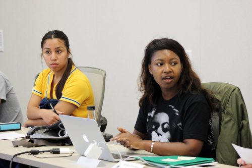 Student Senate President Valencia Scott (right) with Vice President Alejandra Hilbert (left) delivers her opening message at the September 29, 2016 meeting in the board room. (File Photo)