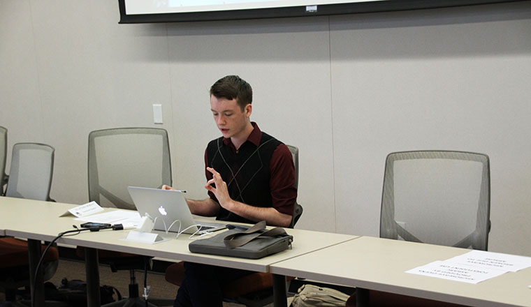 CAEB President Justin Nicholson addresses the Student Senate at their meeting on November 3.