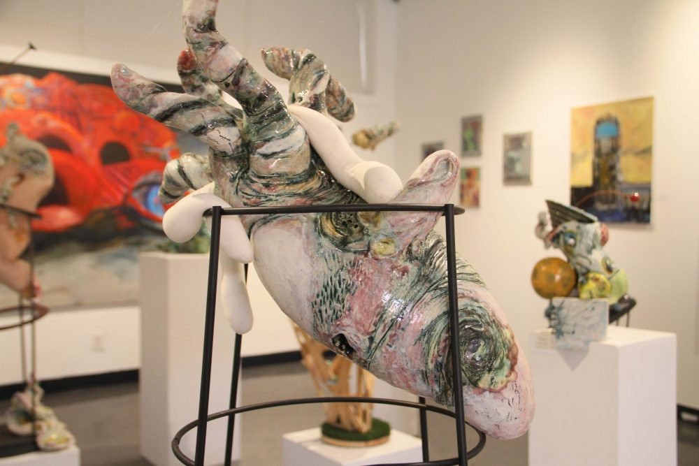 Abstract sculptures and painting pieces by artists  Linda Fitz Gibbon and Ken Hendrickson were hosted in the Kaneko Gallery reception on Nov. 1.  (photo by Lidiya Grib)