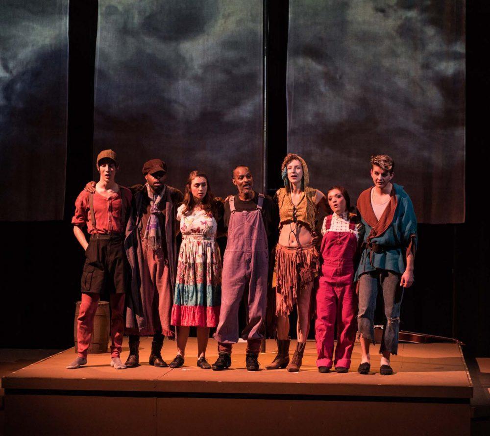 """The Shepherd's Play"" actors, Bailey Sagar, Kelvin Burt, Caramel Suchard, Sam Williams, Katya Novskaya, Rayana Wedge, and Daniel Dorofeyev.  (photo courtesy of the ARC Theater Department)"