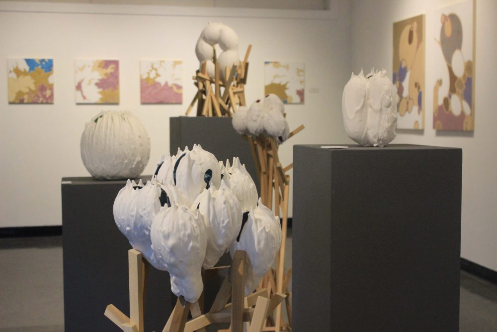 """""""Unearthly Forms"""" showcased the art work of Mitra Fabian and Lisa Marasso in the Kaneko Gallery. There will be a reception on December 1. (Photo by Lidiya Grib)"""