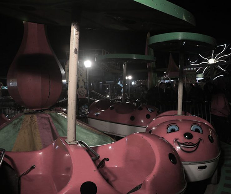 "A ride with lady bugs as the seats at ""Global Winter Wonderland"" at Cal Expo on Sunday in Sacramento, Calif. (Photo by Cheyenne Drury)"