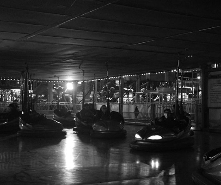 "People ride bumper cars at ""Global Winter Wonderland"" at Cal Expo on Sunday in Sacramento, Calif. (Photo by Cheyenne Drury)"