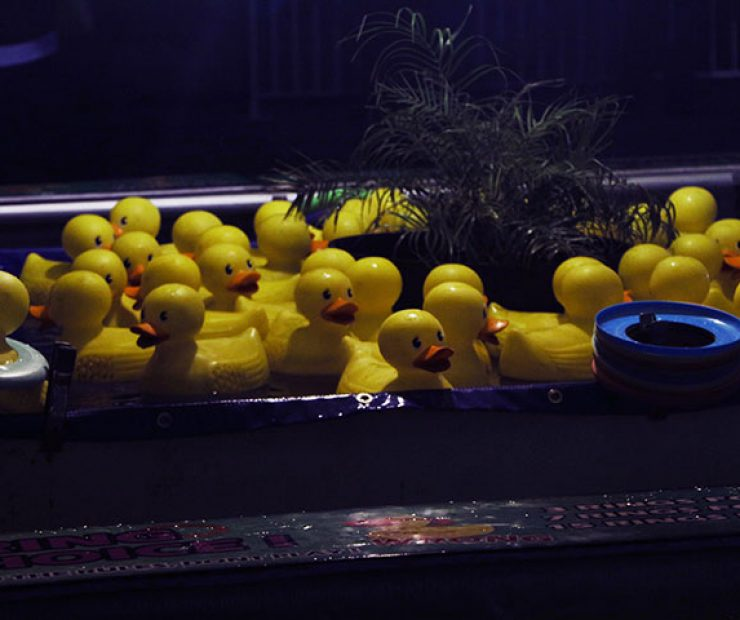 "Rubber ducks were the focal point of one of the games at ""Global Winter Wonderland"" at Cal Expo on Sunday in Sacramento, Calif. (Photo by Cheyenne Drury)"
