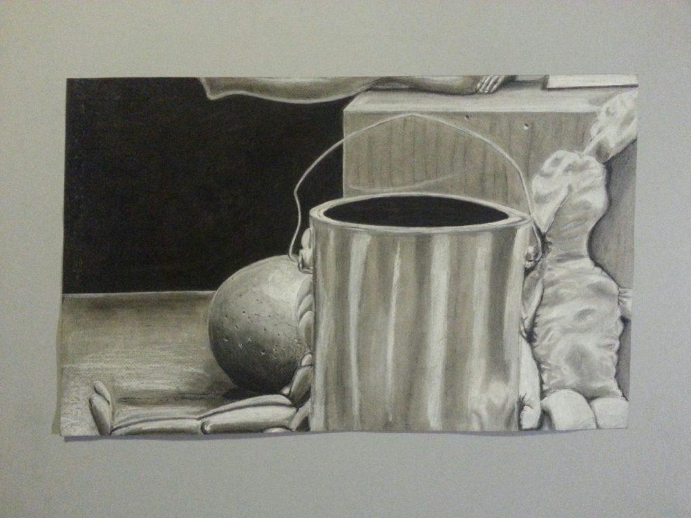 ARC student Miguel Mirandas artwork is on display in the Shadow Box located in the art department across from the Kaneko Gallery. (Photo courtesy of Miguel Miranda)