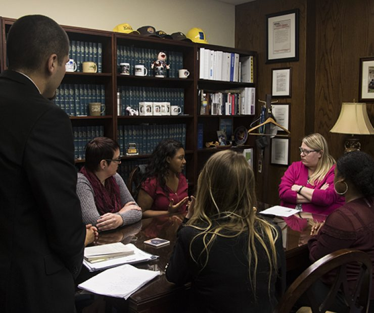 The student senators had planned on speaking to Assemblymember Ken Cooley, but due to a scheduling conflict, Cooley was unable to make the meeting. Instead they met with legislative director Amanda Kirchner to discuss the issue of mental health on community college campuses. (Photo by Luis Gael Jimenez)