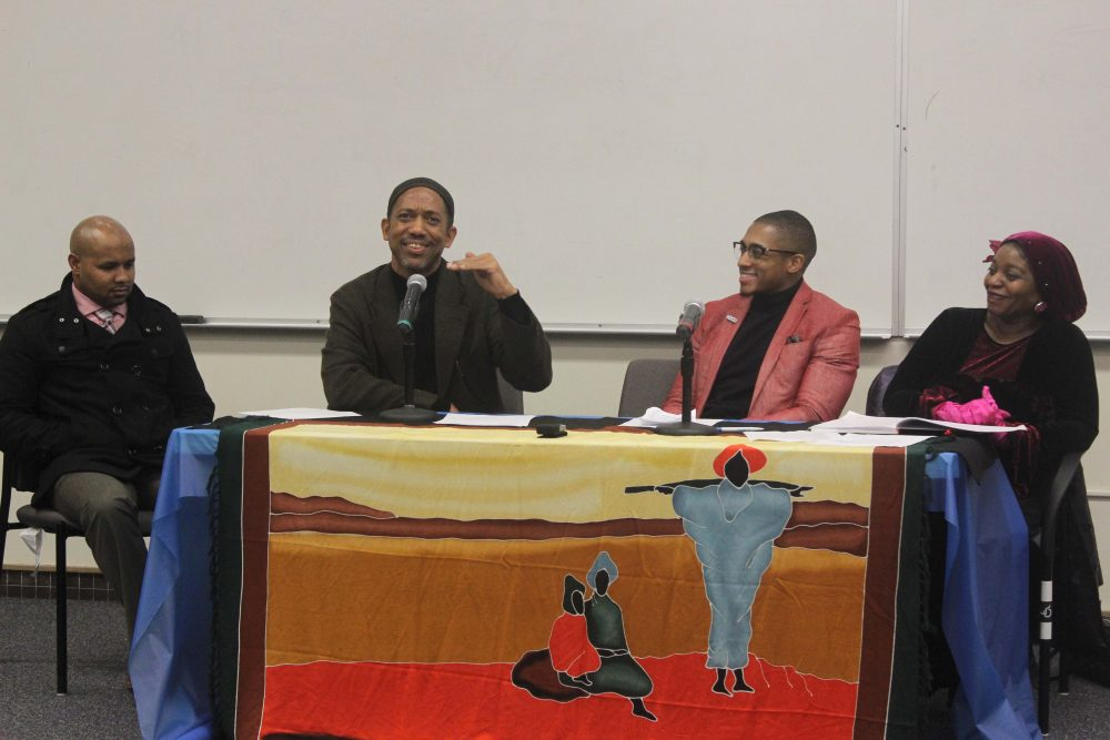 Guest speakers, Adrian Jasper, Muhammad Saifullah, Yusuf Ali, and Parrish Geary speak at Unite: I am Black, I am Muslim on Feb. 9.