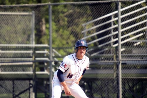Mitchel Brill looks to steal at the American River College baseball game versus Sacramento City College. (Photo by Mychael Jones)