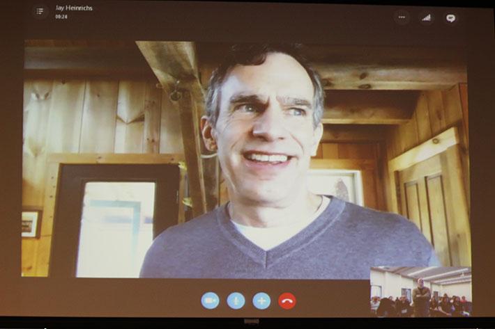 New York Times best-selling author Jay Heinrichs speaks to speech 302 students via Skype. (Photo by John Ennis)
