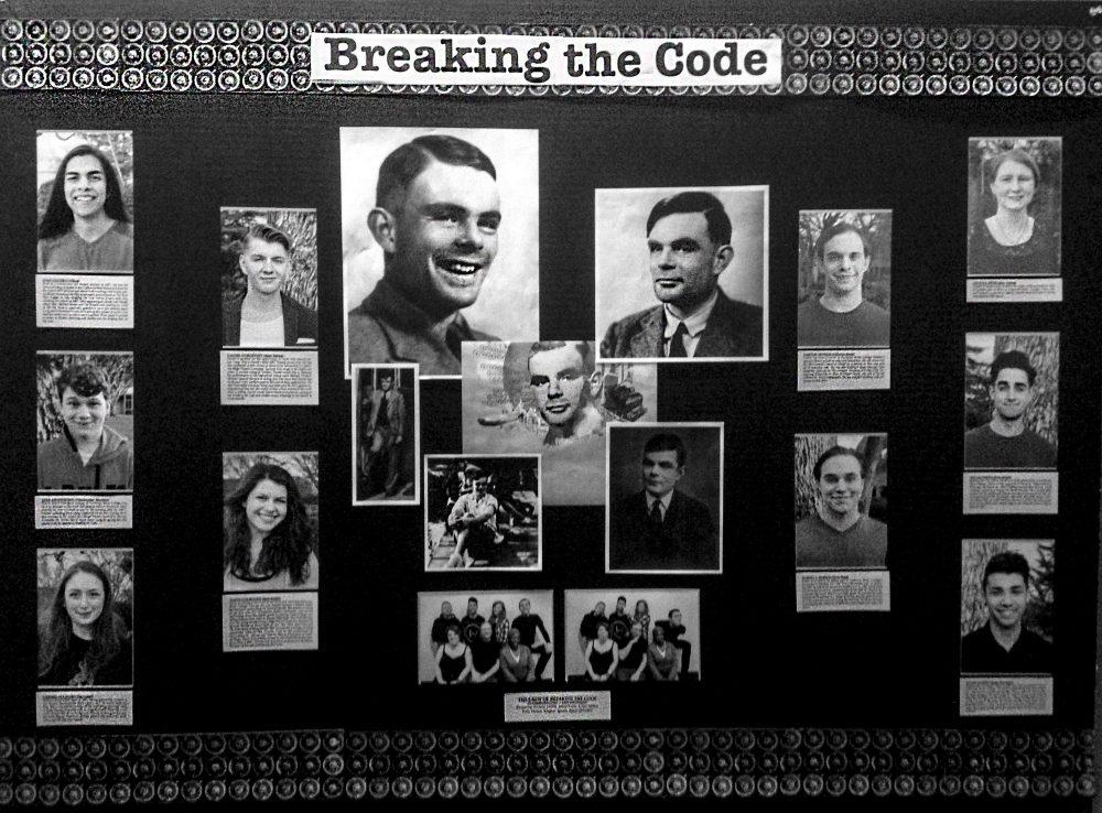 "The American River Production of ""Breaking the Code"" presented their show about Alan Turing who helped break the German code during WWII. The poster shows the actors in the show. (Photo by Lidiya Grib)"