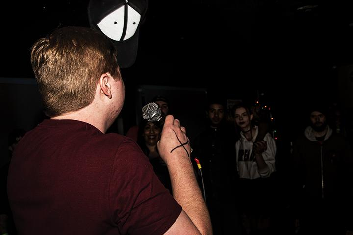 Rapper Alex Salveson performs at the Starlite Lounge on the night of March 11 as part of the Starlite Showcase in Sacramento, California. (Photo by Luis Gael Jimenez)